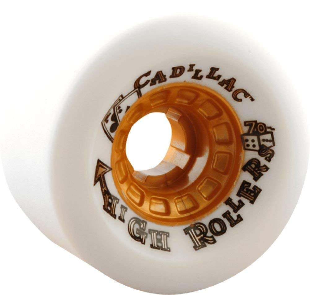 Cadillac Wheels High Roller White Skateboard Wheels - 70mm 79a (Set of 4)
