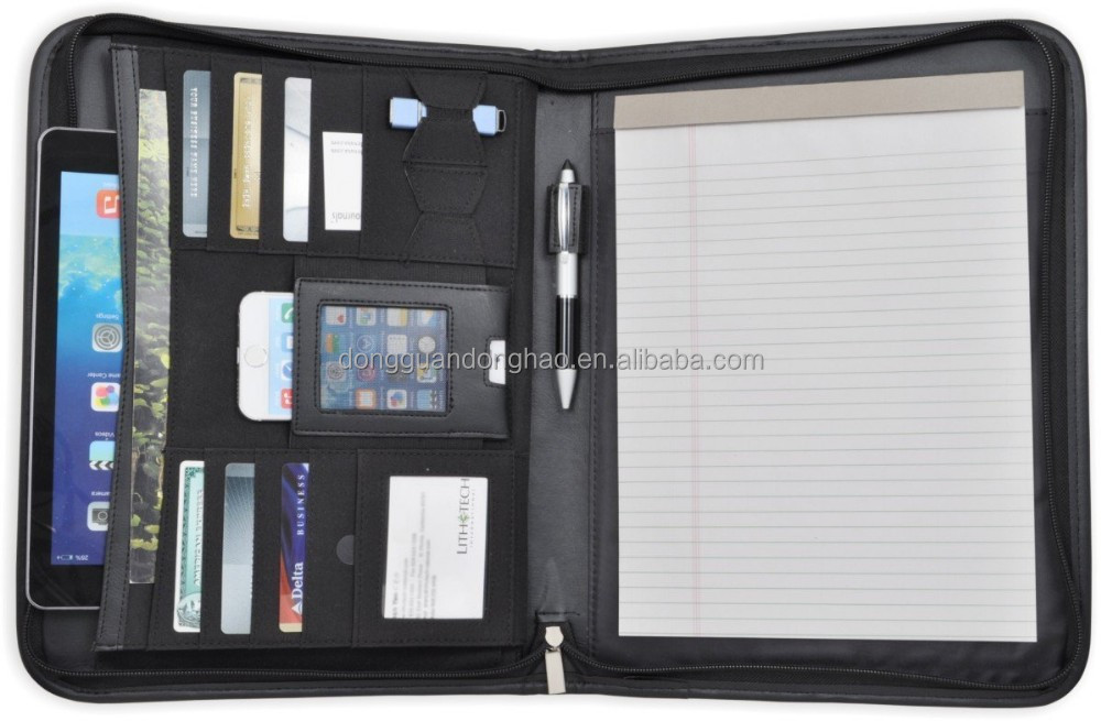 Letter Size Business Briefcase, Organizer, Portfolio, Zippered Closure ,USB Drive Holder, Memo pad, L