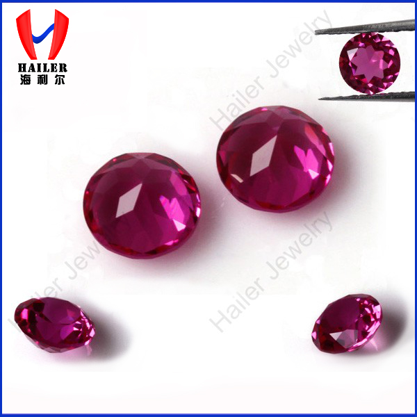 1.9mm loose round diamond cut red artificial ruby stone