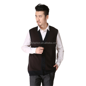 Silk cashmere blend mens V neck sleeveless knitted cardigan cheap sweater vest with buttons