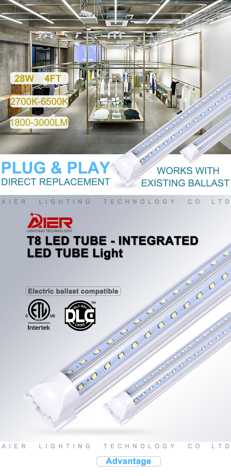 V-Shape T8 Integrated Led Tube Light With V-Shape Design 4ft 5ft 8ft 28w 36w 42w 65w 1200mm 1500mm 1200mm 2400mm