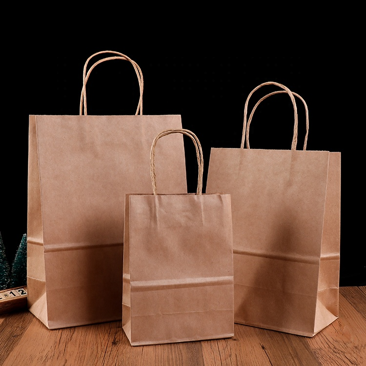 Plain brown kraft paper bag with Twisted string handle 80/150 gsm for food packaging