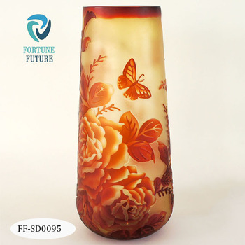 Hand blown solid orange color vase high quality tall vase cylinder shaped galle glass vase for home decoration