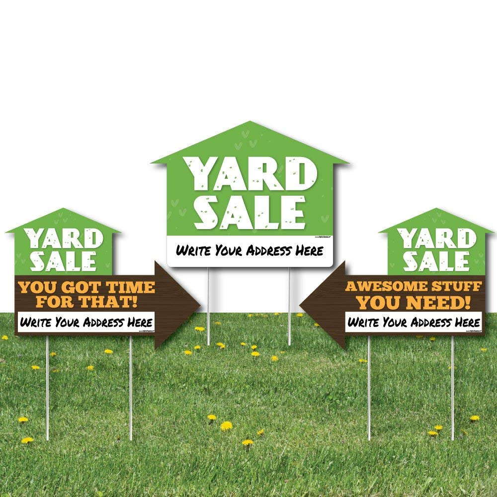 Big Dot of Happiness Yard Sale Signs - Yard Sign with Stakes - Double Sided Outdoor Lawn Sign - Set of 3