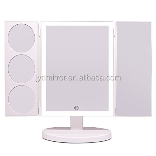 Large Lighted Makeup Mirror 19 2 Inch Trifold Professional