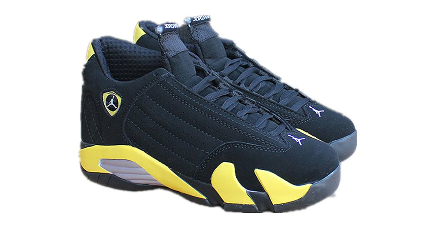 N1KE Mens Air Jordan 14 Retro Yellow and Black Thunder Basketball shoes Size 9.5