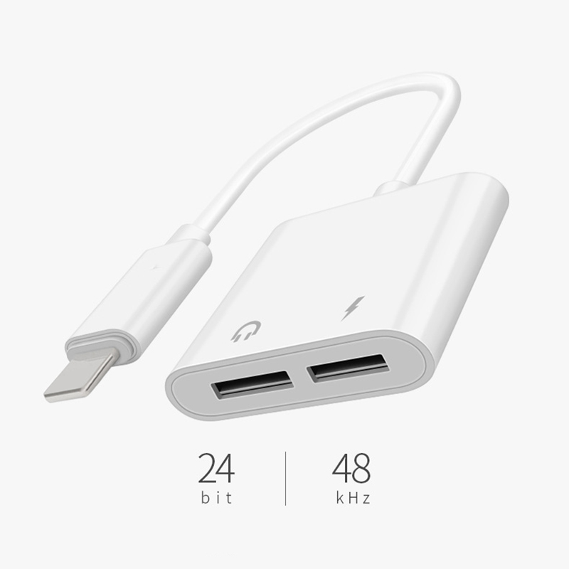 <strong>Adapter</strong> For iPhone XS Max XR XS X 8 2 in 1 Audio Charge Splitter Converter For Lightning to Lightning Jack Headphone <strong>Adapter</strong>