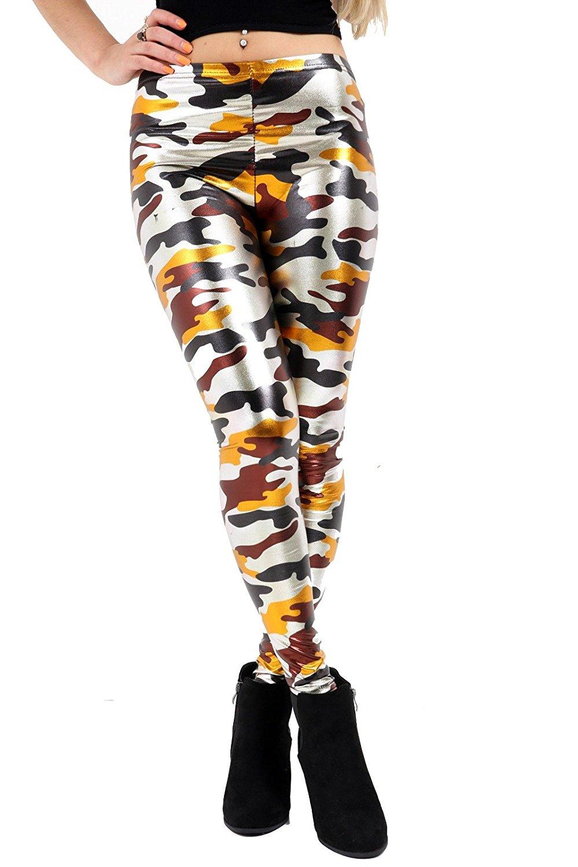 6422cd6b928a7 Get Quotations · Freedom & Fashion Women's Army Camouflage multicolour  Print Shiny Metallic Skinny Leggings Pant S/3XL