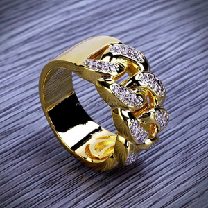Jewelry gold plated Ring for men Hiphop AAA CZ diamond ring 18k gold plated with stone design for men
