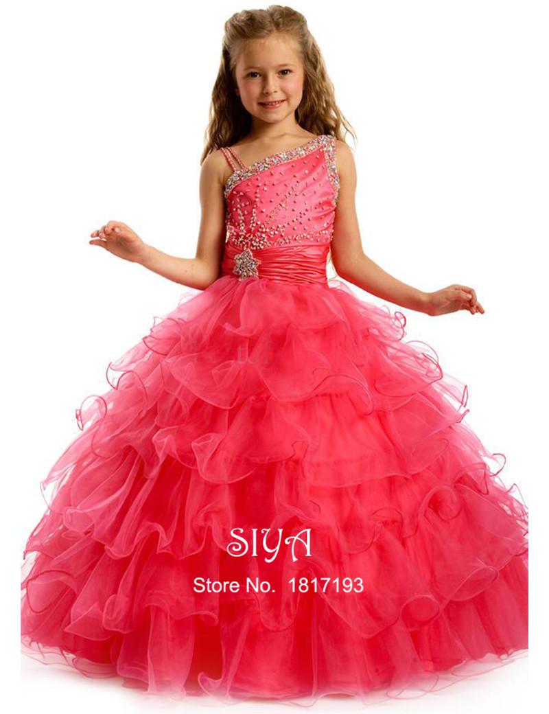 Pics photos girls party dress christmas -  Vestido De Daminha 2015 Cute Red Crystal Ball Gown Flower Girl Dress Colorful Girls Pageant Dresses