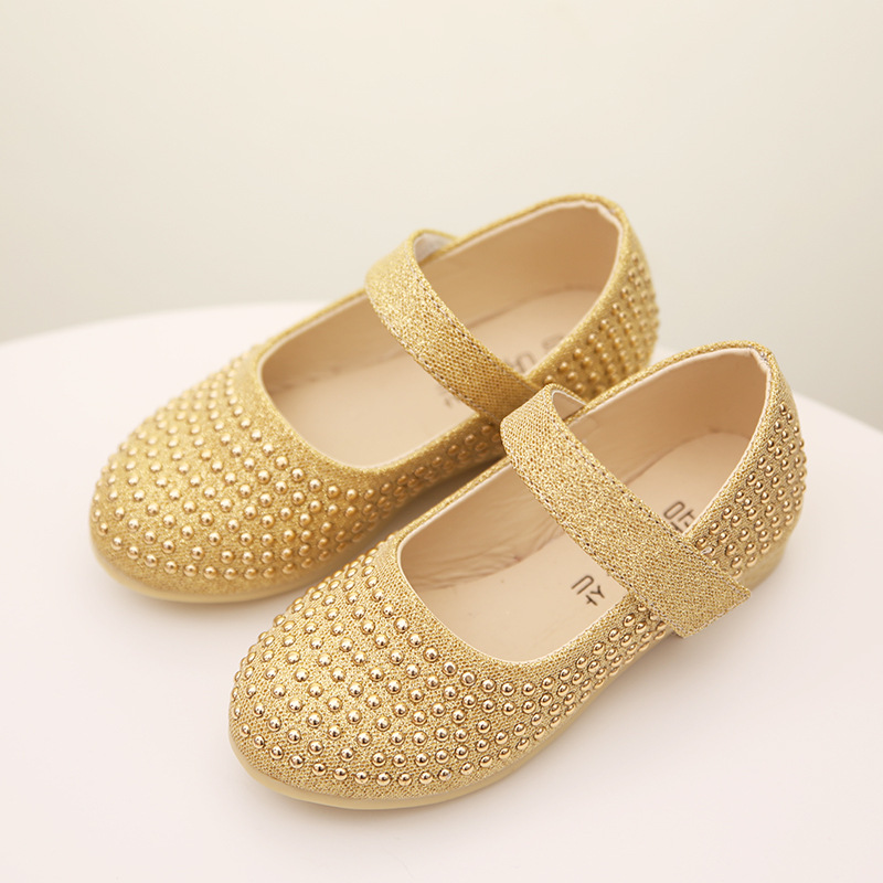 FC1231 pearls diamond spring autumn fashion kids shoes shining casual girls shoes