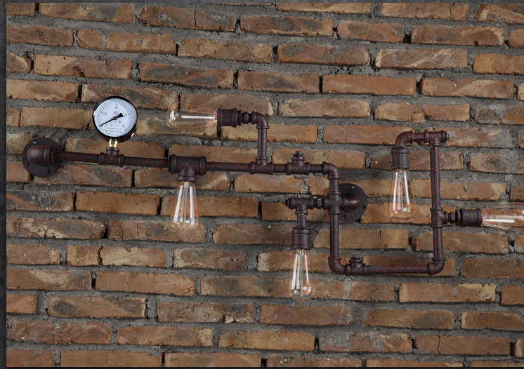 5 tuyau 5 ampoule vintage edison industrielle - Fabriquer une applique murale industrielle ...