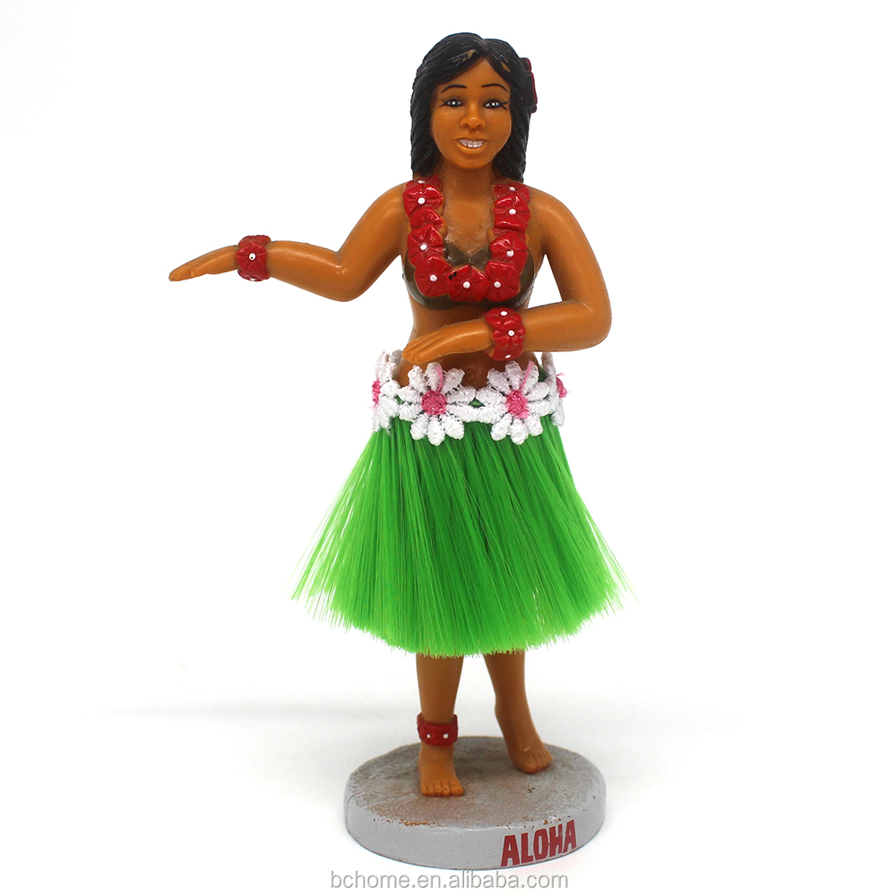 Handmade Dancing Hula Girl,Resin Bobblehead Doll For Car Dashboard Decoration