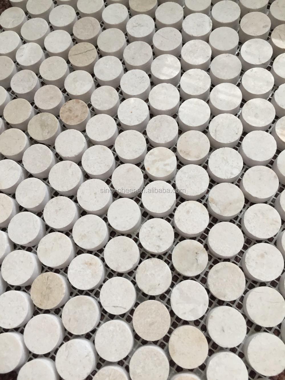 Circle Tiles Crema Marfil Circle Stone Mosaic Tiles Buy Beige Penny Round