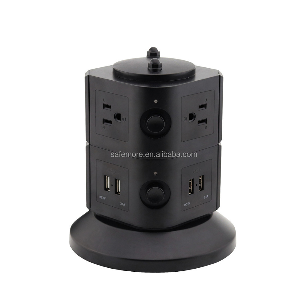 Tower Surge Protector Electric Charging Station 6 Outlet Plugs Power Strip with 4 USB Slot + 6.5ft Cor