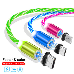 30 Pecent Off Fast Charging EL Glowing Magnetic Micro USB Type C USB C Charging Cable 3 in 1 Cable
