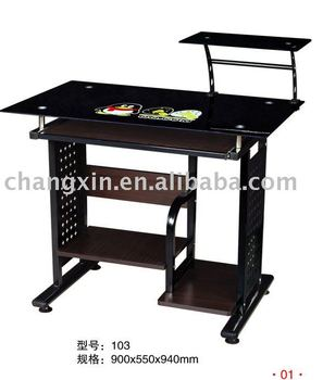 MDF modern glass metal computer desk CX-CD-103