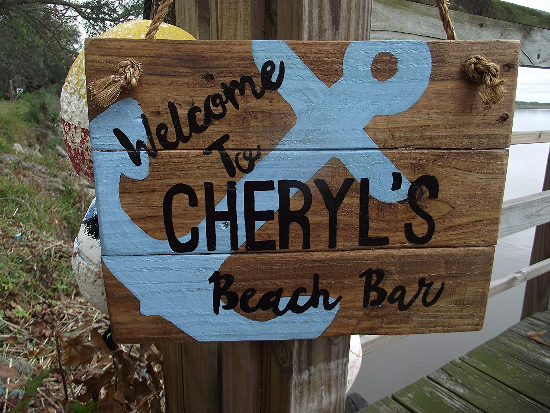 Beach bar sign| custom nautical sign| Nautical welcome sign| personalized bar sign| custon anchor sign| beach house sign| custom nautical name sign