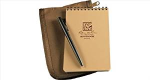 "Rite in the Rain All-Weather 4"" x 6"" Top-Spiral Notebook Kit: Tan CORDURA Fabric Cover, 4"" x 6"" Tan Notebook, and an All-Weather Pen (No. 946T-KIT)"