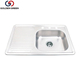 stainless steel kitchen sink with 3 holes for faucet with drainboard