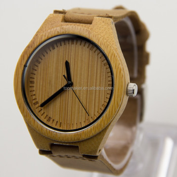 Herren Holz Bambus Uhr Echtem Leder Uhr Coole Beobachteten Manner
