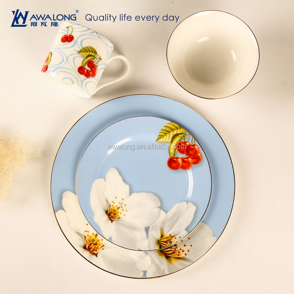 4pcs dinner service for one person breakfast / ceramic porcelain dishware set