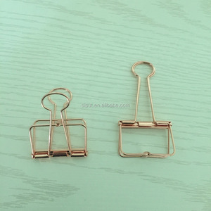 Fancy office metal quality file rose gold Binder Clip