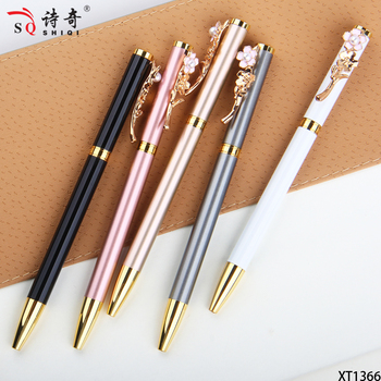 SQ new product metal rose gold flower clip ball pen with custom logo