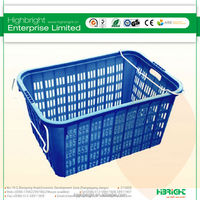large mesh plastic crate with metal wire handle