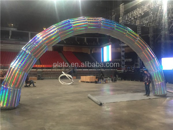 Custom large colorful inflatable rainbow mirror arch /inflatable display airblown entrance for concert