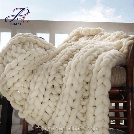 Tejido a mano suave manta crochet hilo voluminoso manta 100% lana ...