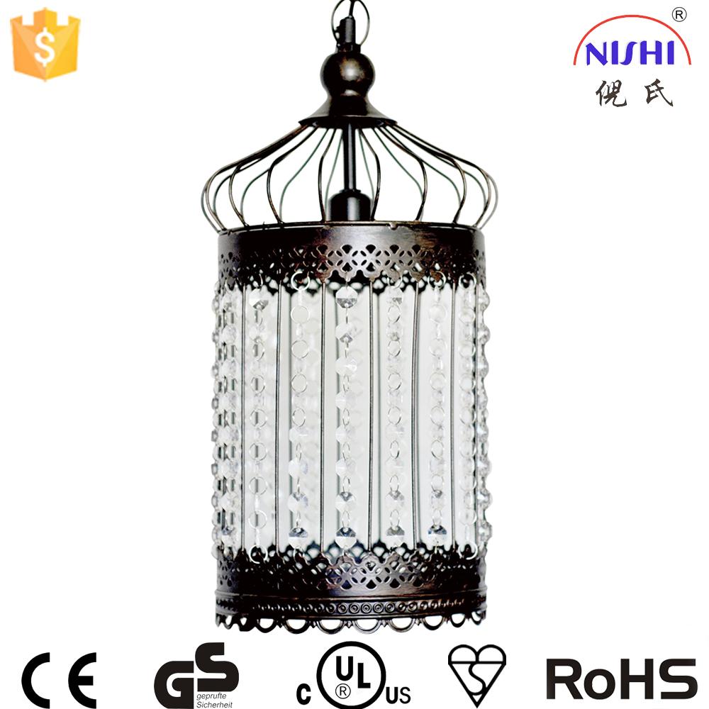 Moderne pendentif lumière cage de mariage marocaine lampe suspendue avec acrylique décoration ns