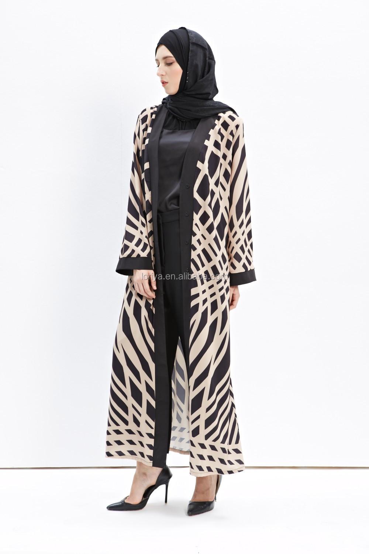 Contemporary Dubai Printed Kimono Front Open Abaya Muslim