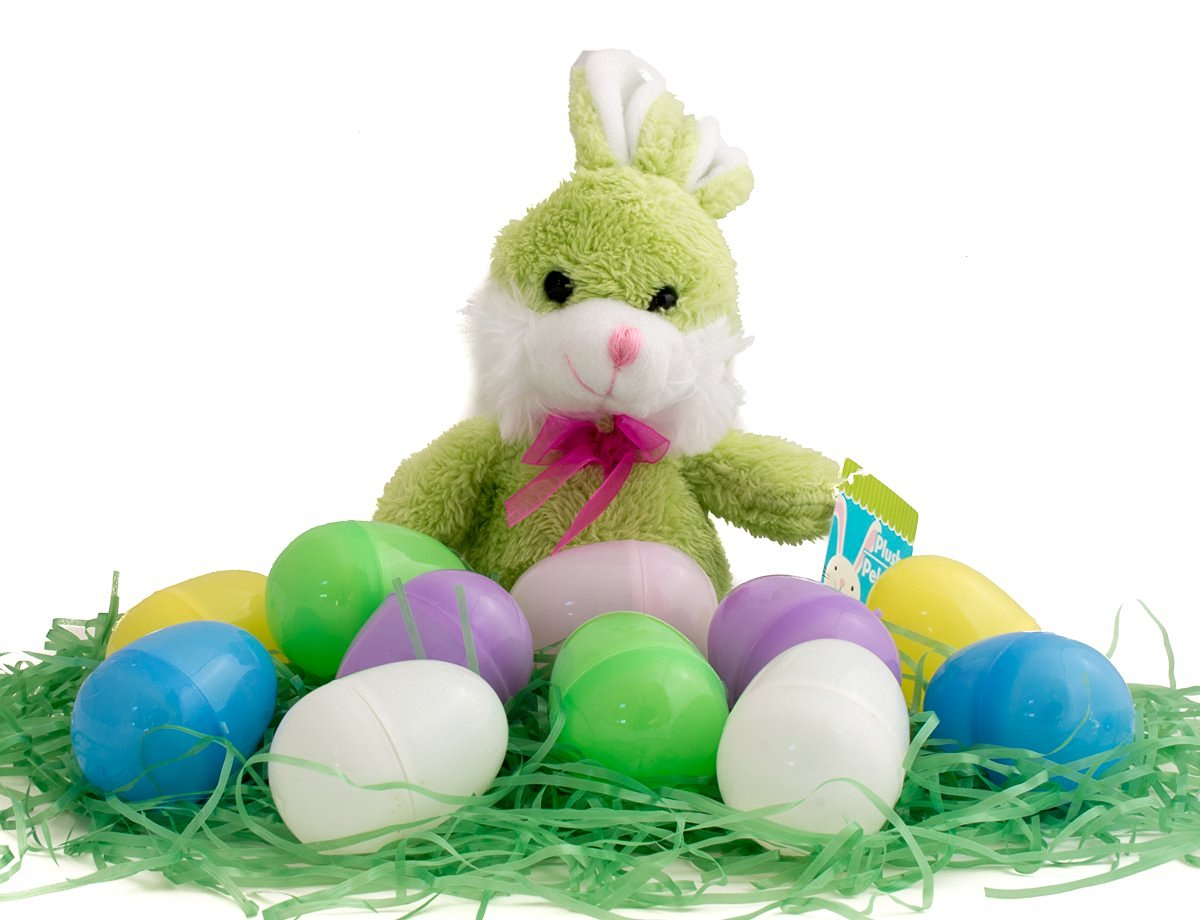 Easter Basket Stuffers/Filler Bundle - 3 Items: 1 Package Colored Easter Grass, 12 Pastel Plastic Eggs, 1 Plush Bunny (Green)