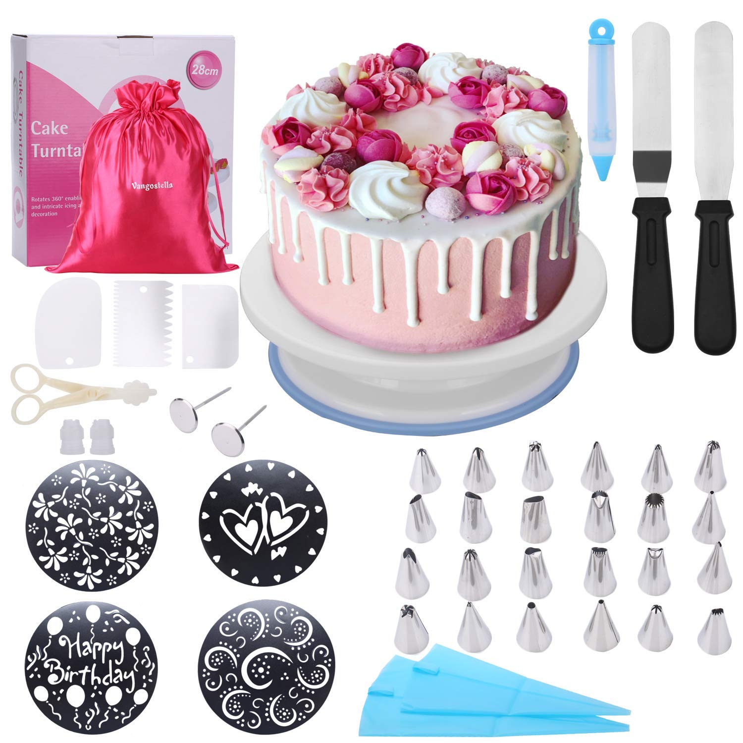 Cake Decorating Supplies with Rotating Cake Turntable Stand for Beginners and Kids(Gift bag included),4 Cake Decorating Stencils,24 Stainless Icing Tips,2 Pastry Bags,3 Cake Scrapers,2 Icing Spatula