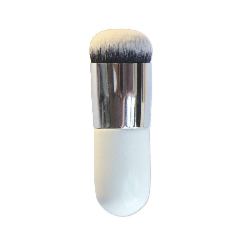 VALUE MAKERS 2015 Large Round Head Makeup Brushes-Foundation Brush-Blush Brush-Buffer Brush-Powder Brush-Bronzer Brush-BB Cream Brush-Kabuki Brush-Beauty Cosmetics (Large Round Head Silver)