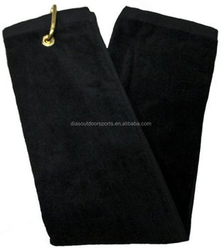 Microfibre Tri-Fold golf Towel with grommet and hook