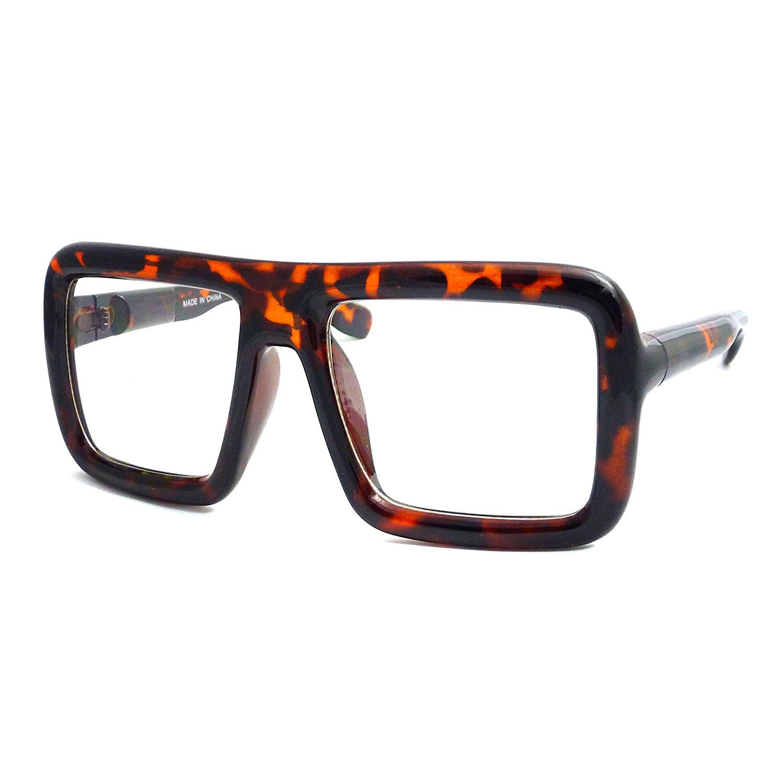 RETRO Large Nerd Bold Thick Square Flat Frame Clear Lens Eye Glasses TORTOISE