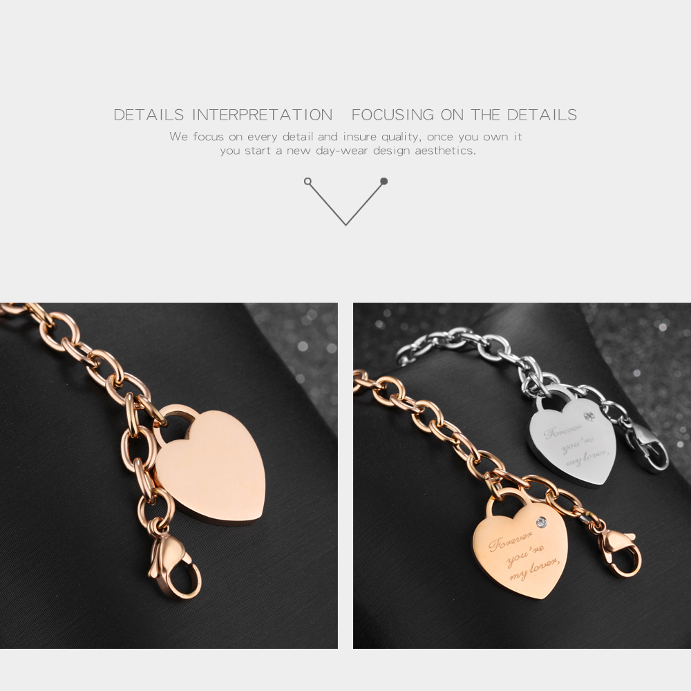 Online Wholesale Shop Heart Charm 925 Sterling Silver Chain 925 Bracelet