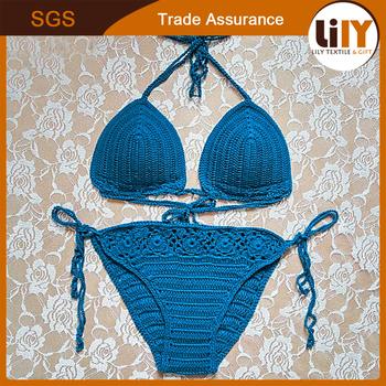 f0bd926861ba7 Halter Triangle Padded Top Bikini Set Swimwear Swimsuit Crochet Bikini