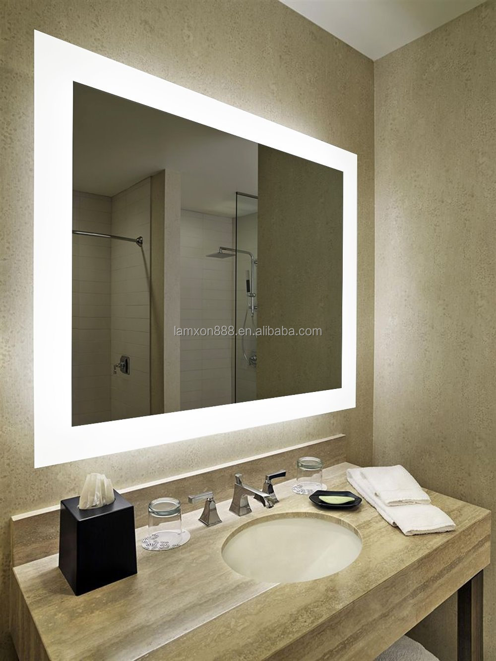 Hotel Bathroom Mirror With Led Lighted And Touch Sensor