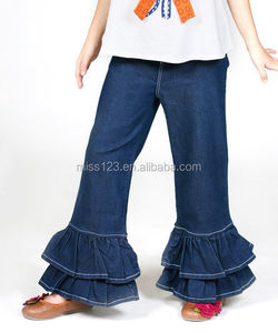 High quality girls denim double ruffle pants kids denim jogging pants children denim jeans pants wholesale
