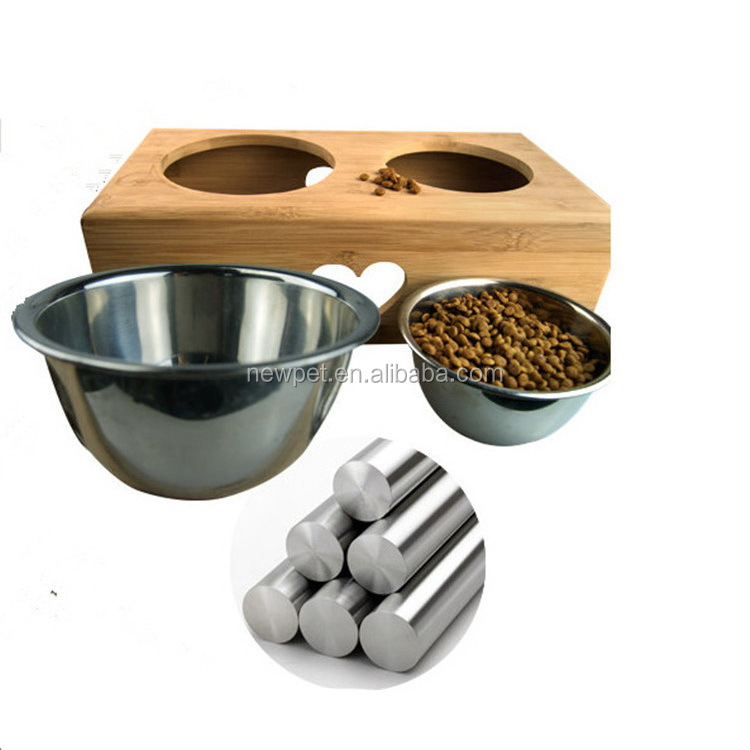 Top level bottom price bamboo,stainless steel pet feeder novelty dog food bowl