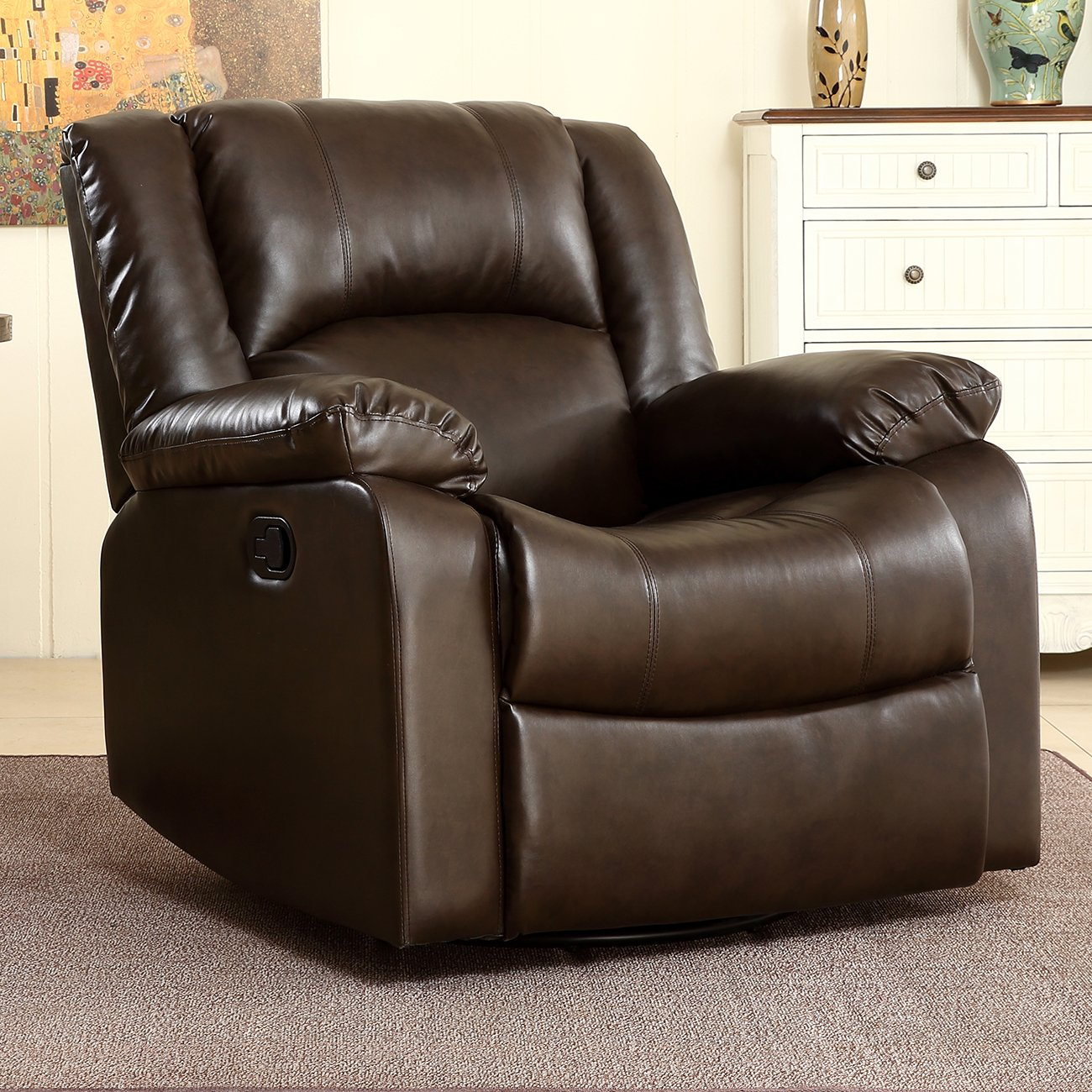 Belleze Faux Leather Rocker and Swivel Glider Recliner Living Room Chair (Brown)
