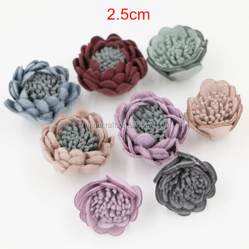 Small PU artificial Leather Flowers,Gifts & Crafts Decorative Patterns,DIY Kids Hair Flowers Accessories,2.5cm