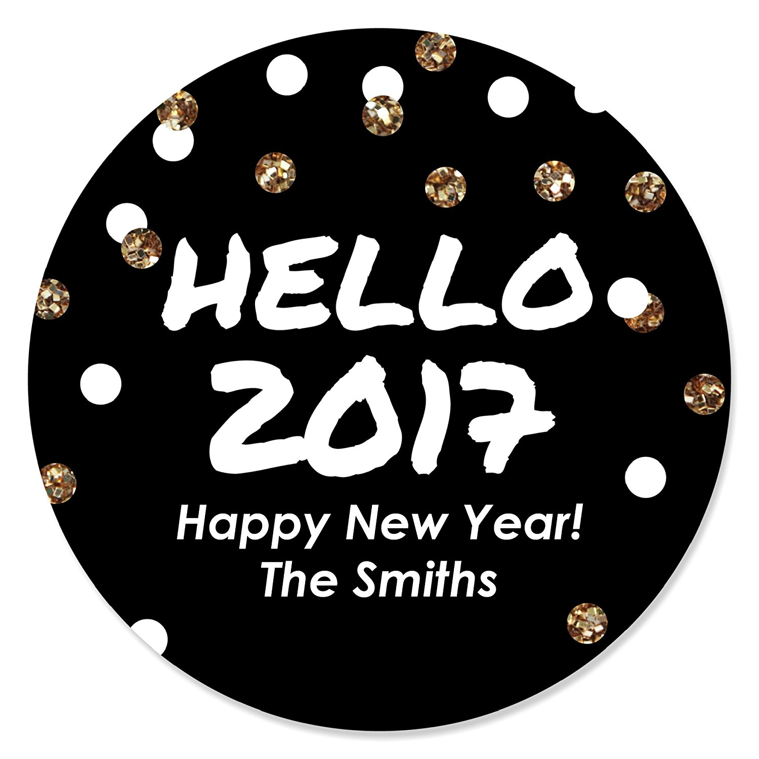 personalized new years eve party favor round sticker