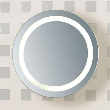 Flush Mount Clear Glass Round Led Light Bathroom Mirror