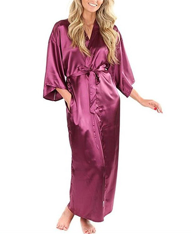 3ead217a7c Nerefy Silk Satin Wedding Bride Bridesmaid Robe Floral Bathrobe Short  Kimono Robe Night Robe Bath Robe Fashion Dressing Gown for Women