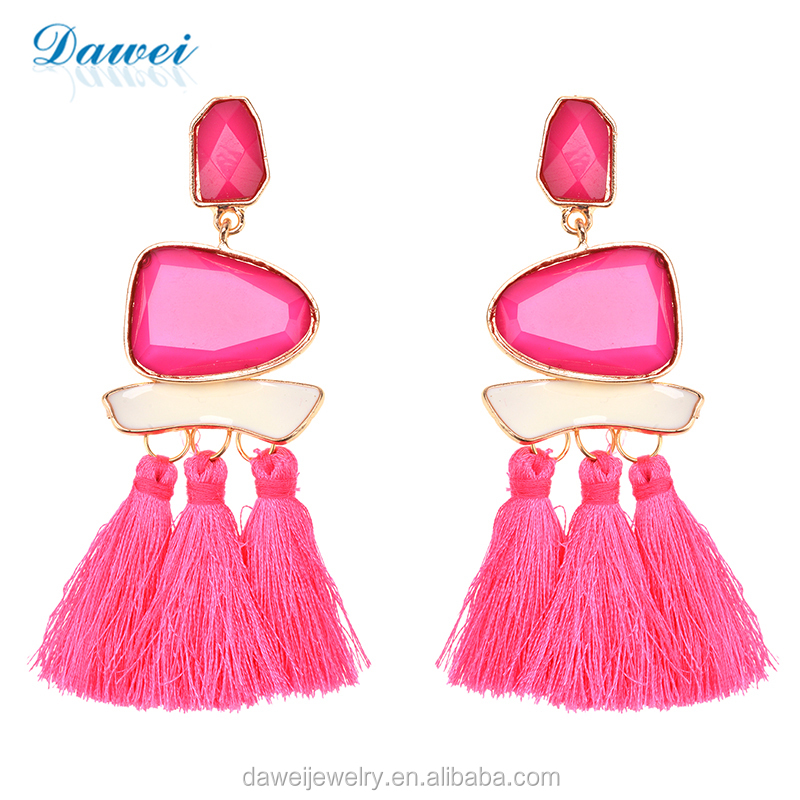 Latest New Trendy Fashion Jewelry Crystal Stud Pink Rope Silk Tassel Earrings