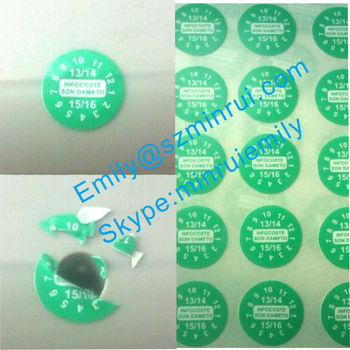 Custom small round date destructible warranty stickersbreakable fragile tamper evident warranty labels